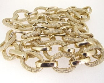 """Two Style Shiny Cut Dot Gold Plated Metalic Aluminium Chunky Curb Chain ----- 22mmx 28mm---thickness about 5mm----38"""""""