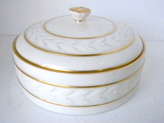 Vintage, Lenox Covered Dish, Candy Dish, White and gold trim