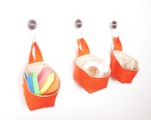 Mini Fabric Baskets, Tangerine and Beige Hanging Baskets, Storage Solutions