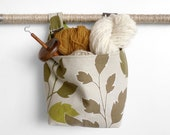 Large Fabric Basket, Autumn Leaf and Olive Canvas Hanging Basket, Storage Solutions