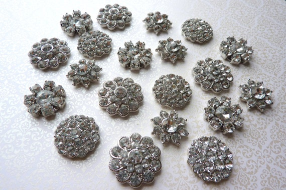 20 pc Collection Assortment QUALITY Metal Rhinestone Silver Button Embellishments NO SHANK