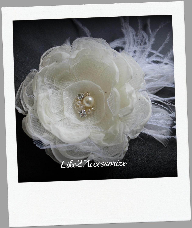 Ivory Flower Hair Clip Wedding: Ivory Wedding Flower Hair Clip Bridal Hair Accessories Wedding