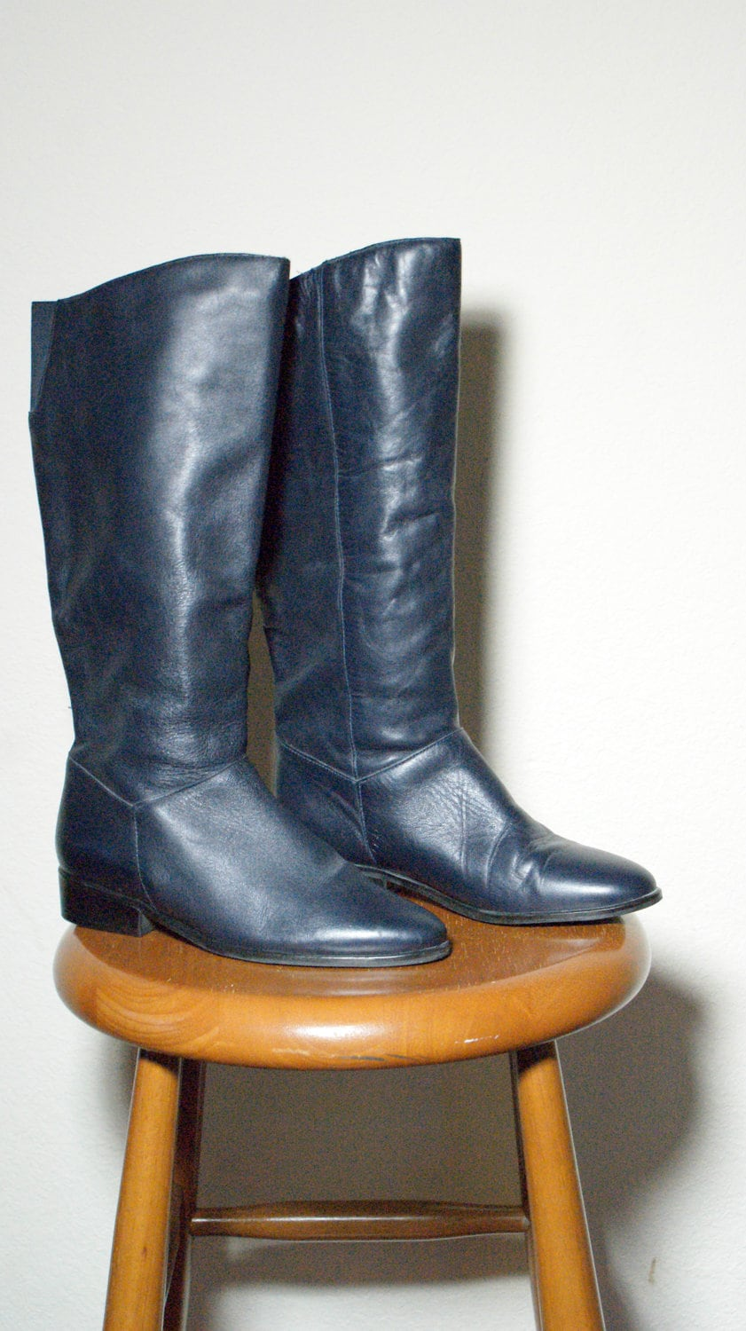 Vintage Like New Navy Blue Riding Boots 7