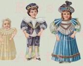 "Digital Download Large Antique Family Paper Dolls  'Children Three"" Die Cut Victorian Scrap Graphic Image"