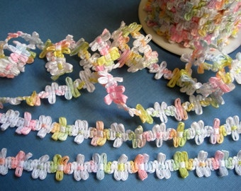 "Rococo Ribbon Trim, White / Multi Pastel, 1/2"" inch, 1 Yard, For Scrapbook, Mixed Media, Stationary, Home Decor, Accesories"