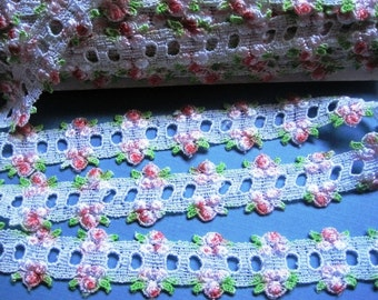 """Victorian Venice Lace Galloon Beading, White / Rose / Mint , 1 3/16"""" inch wide, 1 Yard, For Victorian & Romantic Crafts"""