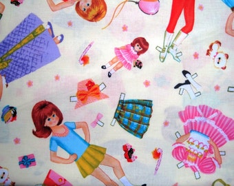 "Paper Dolls Cut Outs Children Fabric, Fat Quarter, Multicolor / Yellow, 18"" X 22"" inches, 100% Cotton"