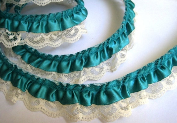"Gathered Ruffled Lace With Satin Ribbon Trim, Green / Ivory, 5/8"" Ribbon with 1 1/4"" Lace, 1 Yard For Victorian and Romantic Projects"
