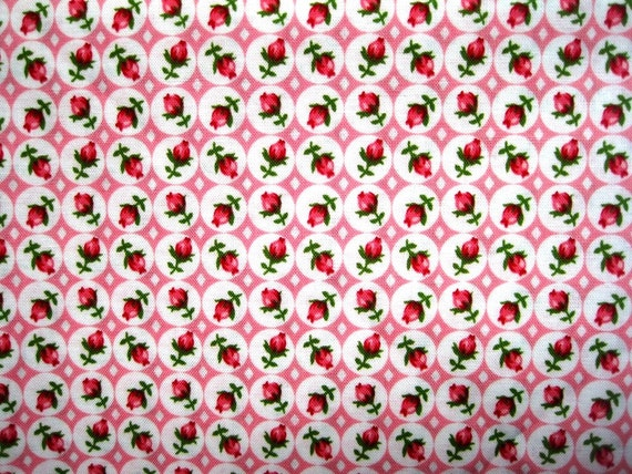 "Tiny Rosebuds Fabric, Fat Quarter,  Pink / White, 18"" X 22"" inches, 100% Cotton, For Victorian & Romantic Projects"
