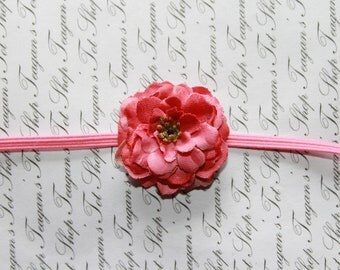 The Lulu Raspberry Petite  Baby Headband, Newborn Headband, Baby Girl Flower Headband, Photography Prop