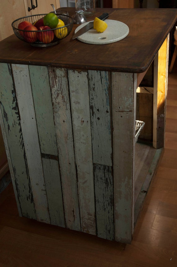 Handmade reclaimed wood industrial kitchen island table