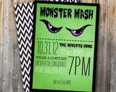 SALE Halloween Party Invitation: Monster Mash, Printable, Digital File, Invite, Chevron, 5x7