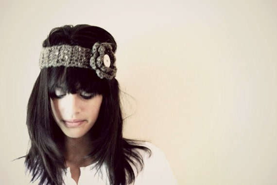 Brown Speckled Headband/Earwarmer with Flower and Button for Teen-Adult