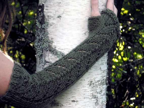 Arm Warmers, Fingerless Gloves, Long Lace Fingerless Gloves, Long Arm Warmers, Lace Arm Warmer, Elven Arm Warmers, Mori Girl, Green