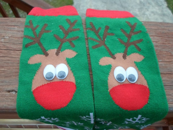 Christmas Reindeer  Baby leg warmers--Regular sized