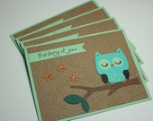Set of 4 Owl Thinking of You Cards