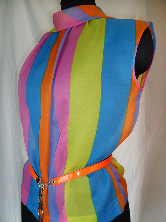 WOW 60's  acid tripping Austrian- made super vibrant day-glo chiffon sleeveless blouse- GER 42/ US medium