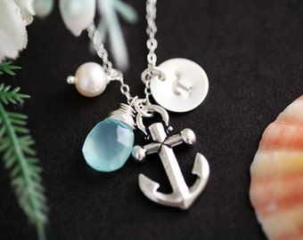 Anchor Necklace,custom initial birthstone necklace,custom font,Pearl,Sailors Anchor,Wedding Jewelry,Bridesmaid gifts,daily Jewelry,strength