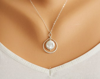 Infinity necklace,Best friends,Bridesmaid Gifts,infinity pearl Sterling Silver necklace,Pearl necklace,Sisterhood,Graduation