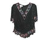 black and gold beaded/sequin cocktail top