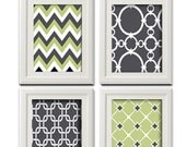 Green Grey Vintage / Modern inspired Art Prints Collection -Set of (4) - 5x7 Prints - Grey Green white (UNFRAMED)