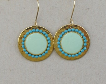 Turquoise dangle earrings,  hammered gold disk .Gold-filled earwire,Color of fashion