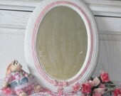 Lacy Pink and White Mirror with Bow Great for little Girls Room Cottage Chic Mirror