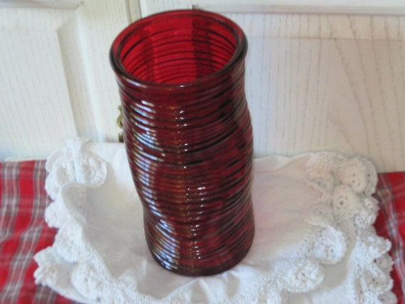 Red Swirl and Bent Looking Glass Vase