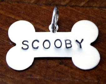 Dog Bone Hand Stamped Sterling Silver Name Charm, Personalized Pet Lover Name Pendant, Dog Mom, Dog Dad Jewelry