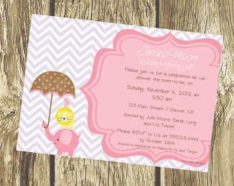 Jungle Baby Shower (Elephant/Lion) - Baby Shower Invitations (Baby Girl), DIY Printable, digital file (item 1023)