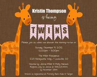 Twins Giraffe Baby Shower Invitations (Girls), DIY Printable, digital file (item 1058)