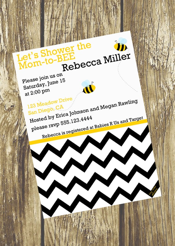 Let's Shower the Mom-to-BEE Modern Chevron Baby Shower Invitations - Gender Neutral, DIY Printable, digital file (item 1050)