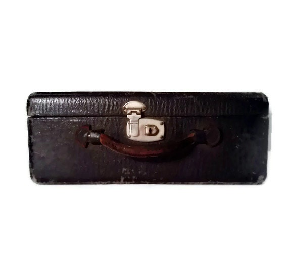 Antique Leather Luggage Black small suitcase Vintage 1920's