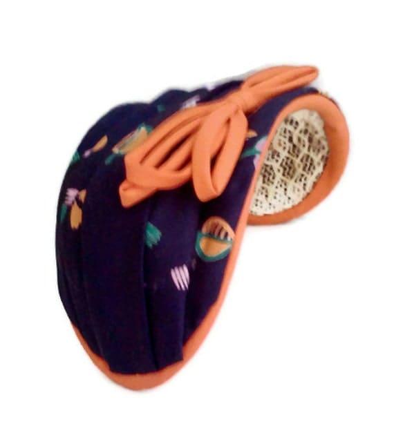 Vintage Womens Hat Blue and Orange Summer Hat 1950s