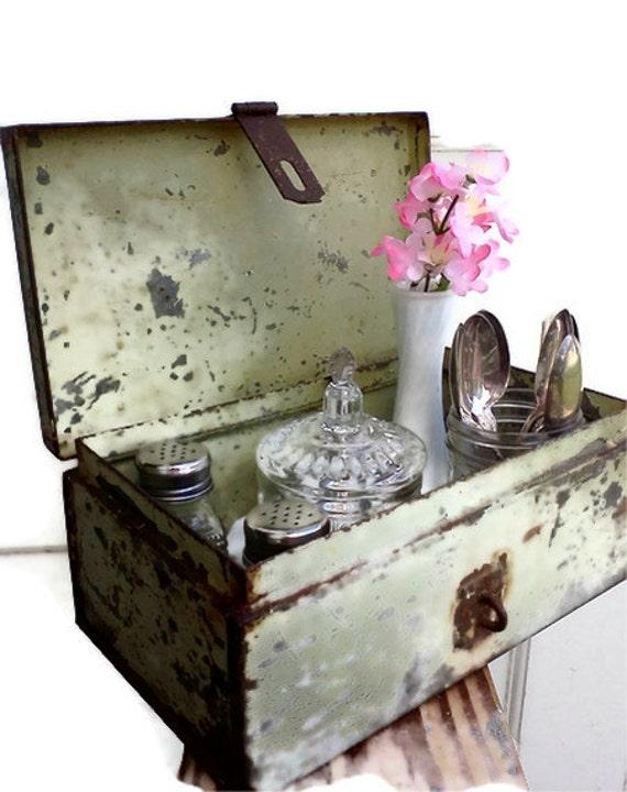 Metal Box Storage Chippy Green Shabby Rusty