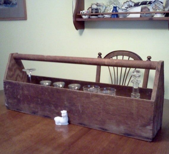 Vintage Wood Tool Box Rustic Storage
