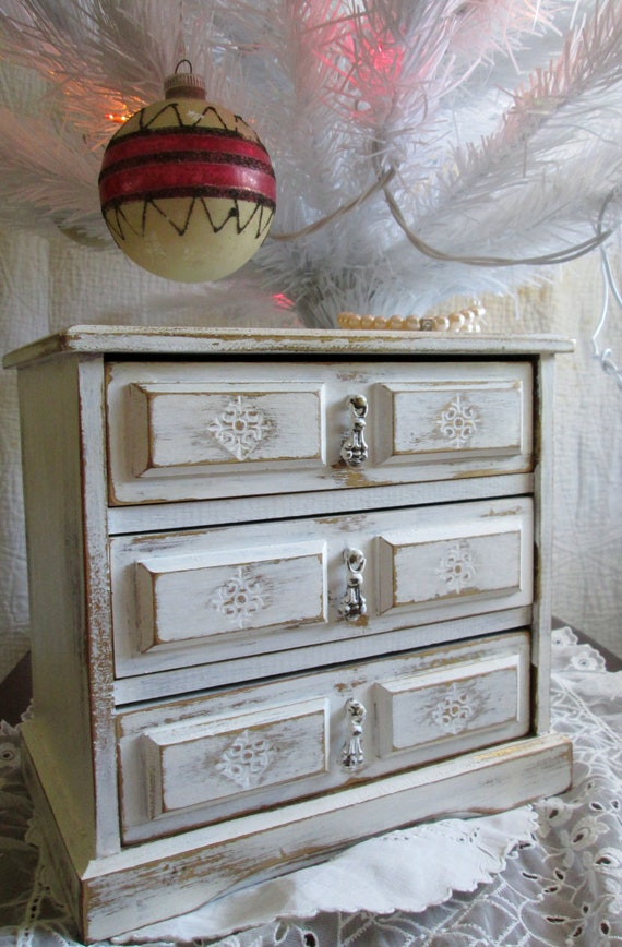 Shabby Chic Jewelry Music Box French Cottage Upcyled Vintage Winter White Christmas