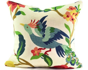 Decorative Bird Pillow Cover - Richloom Lucy Eden Cotton  Basketweave Fabric - SAME FABRIC Both Sides - Pick Your Size