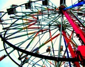 Carnival Fair Ferris Wheel Bright Rainbow Bulbs Vibrant Color Summer Unique Fine Art Print 5x7 Picture Artwork