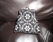 RESERVED FOR ROSEMARIE Halloween Spooky Gothic Spiders Web Bats Damask Riley Blake Cotton on Silver Frame Coin Purse