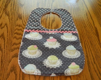Baby Bib with Cupcakes and Polka dots by Mimi's Magic Apron