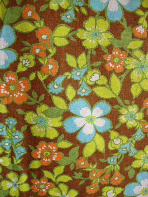 Vintage 60s Fabric Neon Lime Green Tangerine Orange Flowers Aqua Blue Light Weight Cotton BTY