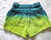CARPE DIEM- High-Waisted Cutoff Shorts Dip-Dyed Teal and Yellow