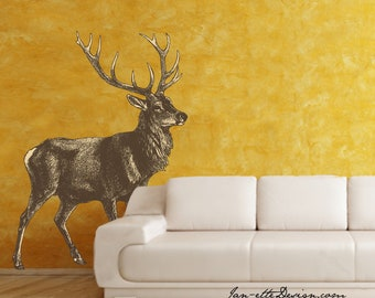 Large Deer Wall Decal,Removable & Repsotionable Fabric Wall Decal,Rustic Living Room Wall Art