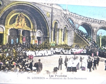 Lourdes Postcard, 1928 - Vintage French Postcard - Antique Holy Site Postcard