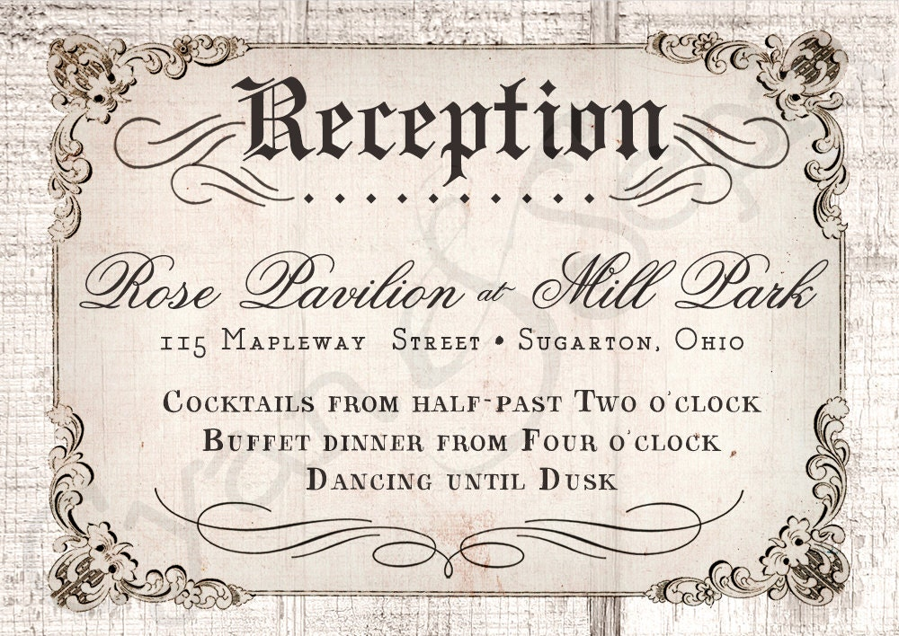 Invitation Wording For Wedding Reception: Printable Wedding Reception Enclosure Card 3.5x5 Antique