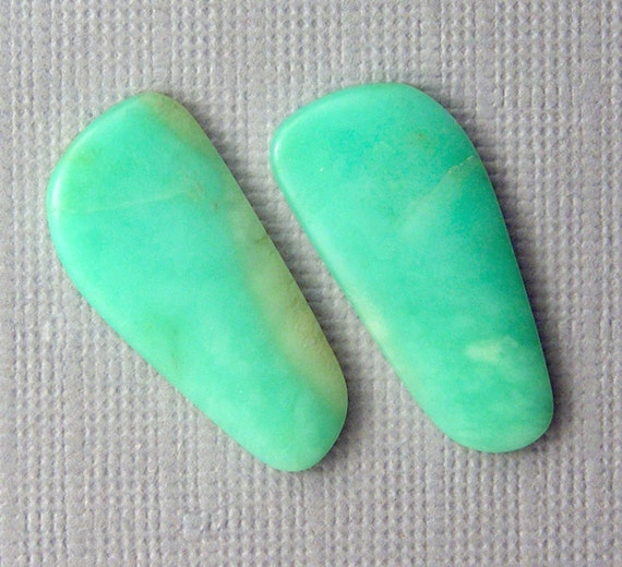 Chrysoprase Cabochon Pair - Hand Cut Freeform Designer Gemstone Cabochons - Earring Pair
