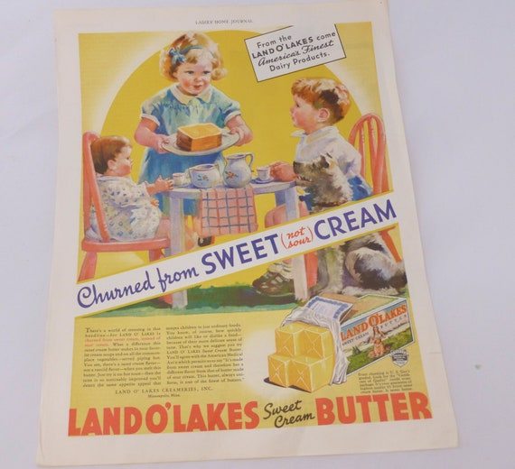 FULL PAGE Vintage ADVERTISEMENT Suitable For Framing - Ephemera - Original Ladies Home Journal, February 1935 Ed, Land O Lakes Butter Ad