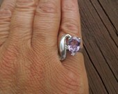 Vintage Silver Ring Size 5, Unusual Design, With Purple Stone, Nice Condition