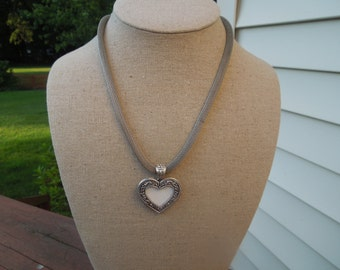 Vintage Heart Necklace, Silver Toned, Thick Chain Mail, Pendant Holds Picture